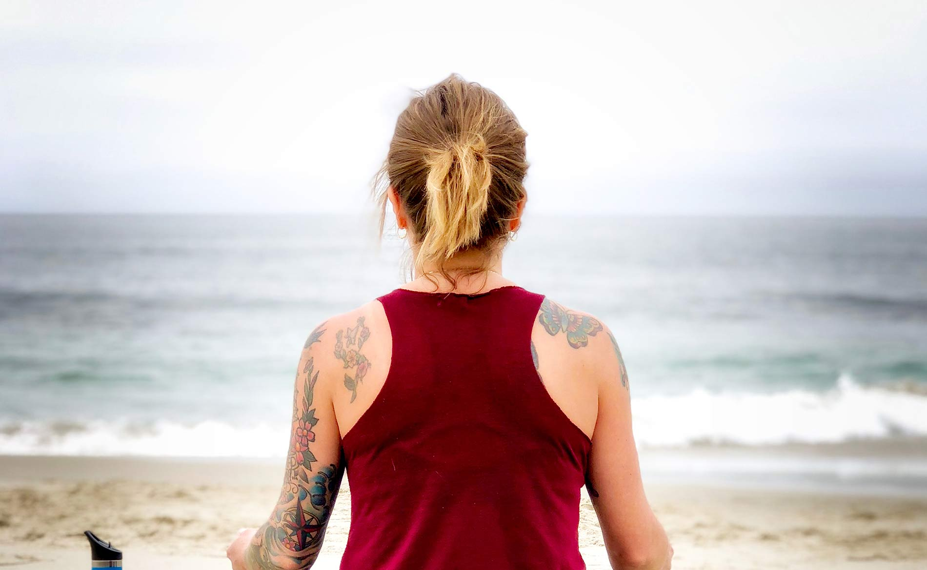Healthy Woman Sitting on the Beach